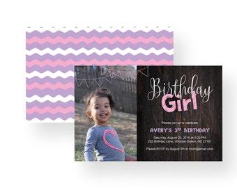Girl's Birthday Invitation, birthday girl, party invitation, chevron, pink, purple