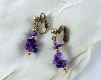Vintage Purple Amethyst Clip On Earrings, Estate Jewelry