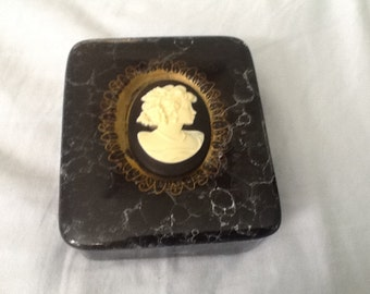 Vintage glass cameo box, black and gold