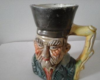Vintage Japanese Cheramic Man Figure Jar