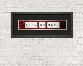 Inspired By David Bowie Lyrics - Life On Mars - Framed Wall Art In Black Frame (72cm x30cm)