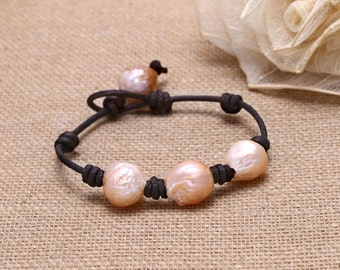 Knot genuine leather cord potato pearl wrap bracelet, S 168-1