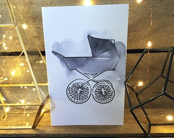 Vintage Pram Greeting Card - watercolour painted, Multiple colours available