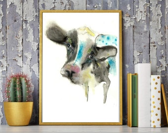 Cow Painting,cow Watercolor Painting ,Modern cow,cow art ,cow wall art ,farm art,cow home Déco,cow  Art Print ,dairy cow