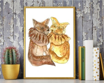 Couple of Foxes, Fox Watercolor Painting, Fox Couple Illustration, Wildlife art, Foxes print, Artwork, Foxes wall art, Home décor, Art Print