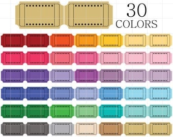Blank Coupon Clipart, Blank Tickets Clip Art, Digital Coupons, Vintage Coupon Clipart, Colorful Coupons, Colorful Tickers, Rainbow Coupons