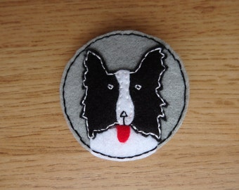 Border Collie felt brooch