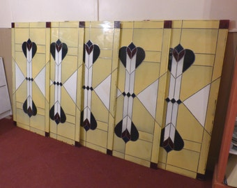 Charles Rennie Mackintosh Inspired Glass Panels x 5 /Arts & Crafts/Decorator Pieces/Home Interiors/Restaurants/Cafes (Collection Only)