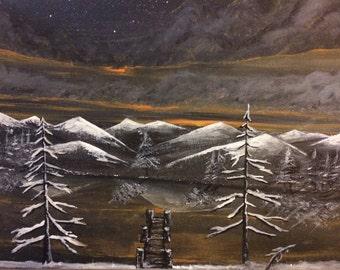 Noght sky over fresh snow caps painting