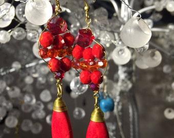 Red  Howlite Dangle Earring