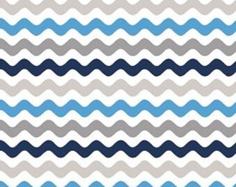 Riley Blake designs   Blue and Gray Small Wave Cotton