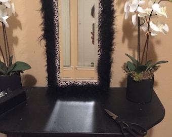 Tan and Black leopard mirror