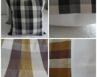 Plaid pillow covers. 1- 18 x 18 Black, Gray, Cream. 1- 18 x 18 Brown,cream, natural. 4- 12 x 12, 2- 16x16. 4-18x18 Reds, cream. Pillow Cover