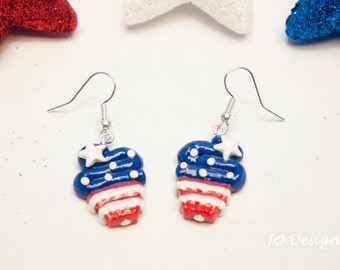 4th Of July Earrings, Patriotic Earrings, Sterling Silver Earrings, Red White & Blue, Military Homecoming