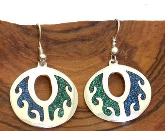 Green & Blue Crushed Stone Earrings
