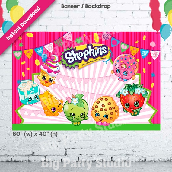 Shopkins Birthday Banner Shopkins Party Banner: Shopkins Banner Shopkins Happy Birthday Backdrop By