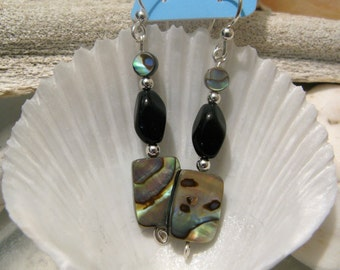 Midnight Circus - earrings - abalone shell - glass - sterling silver