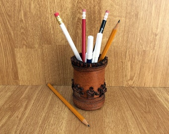 Leather pencil holder Vintage pen holder Office storage Desk storage Handmade pencil holder 1970's Home decor Office decor Vintage office