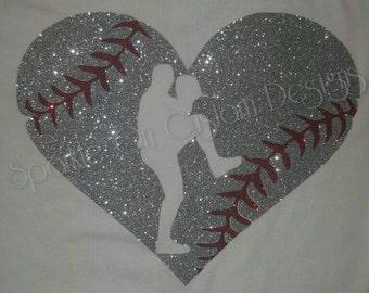 heart with baseball pitcher cutout