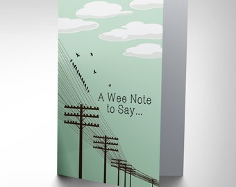 New A Wee Note To Say Birds Power Lines Summer Greetings Card Cp1004