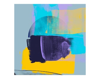 Yellow Blue Violet Art Print - Abstract Expressionism Style Giclee Fine Art Prints, Colourful Art For Home Commercial Decor
