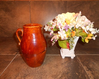 Vintage Brown Pottery Pitcher / Watering Jug