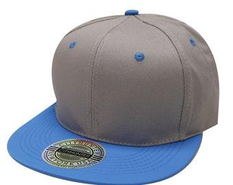 City Hunter Cf919t Cotton Neon Two Tone Snapback Cap Gray/neon Blue
