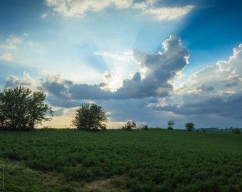 Sun Rays Photo - God Rays - Light Rays - Rural Sunset- Big Sky Fine Art Photo