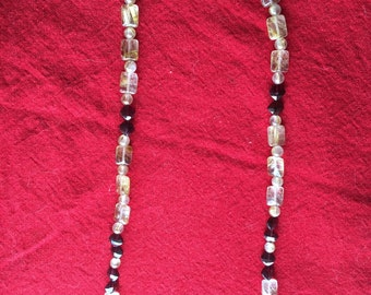 Handmade Necklace made with Rutilated Quartz and Facetted Garnet