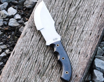 Custom Handmade Fixed Blade Bushcraft Tracker Knife (Black G10 Handle)