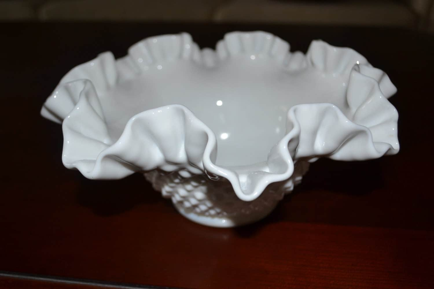 Milk glass centerpiece bowl vintage white gifts for her