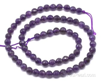 Amethyst beads, 6mm round faceted, natural grade A purple stone beads, genuine faceted rondelle beads, amethyst gemstone beads, AMT1020