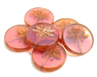 3 x 23mm passionfruit and bronze lusture czech glass focal beads| vintage style beads | czech beads| artisan focal bead