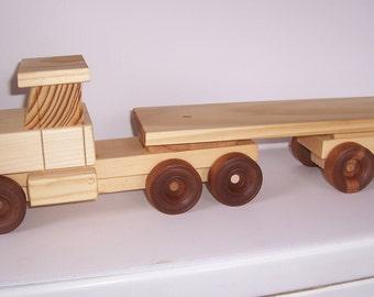 Handmade wooden toy semi-truck