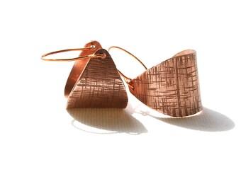 Hammered Copper Dangle Hoop Earrings, Handmade Bronze Earrings, Modern Earrings