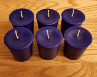 Blue Beeswax Votive Candles | 6 Pack - Free Shipping