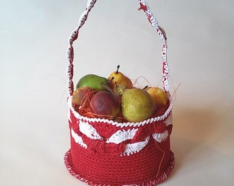 Basket centerpiece starched crochet cotton with fake fruit.