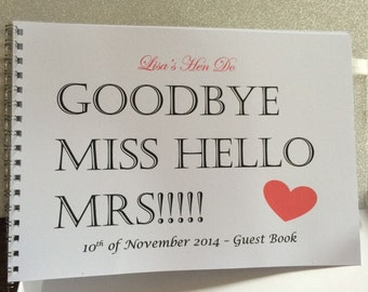 Personalised A5 Hen Night Guest Book
