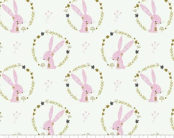 Hello, My Deer - Camelot - Bunnies in Wreaths in White - Pink Bunny Rabbit Fabric sold by the Fat Quarter