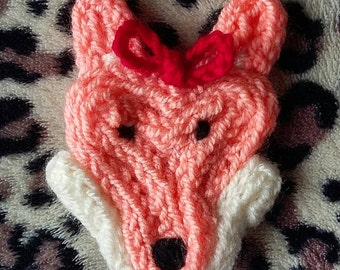 Cute, handmade, French-knitted Mrs Wolf brooch.