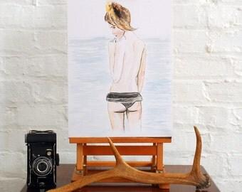 "Original watercolour painting of a girl, ""Contemplation"" A3 Watercolour"
