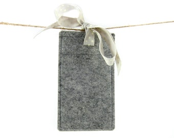 Soft light grey wool felt iPhone case with grey and white spotty grosgrain  ribbon bow