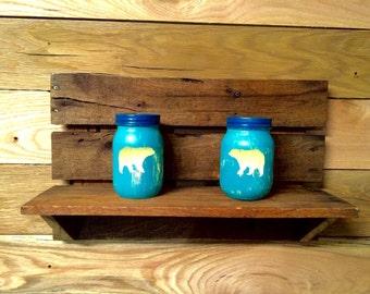 Painted mason jar lantern set with bear cut out