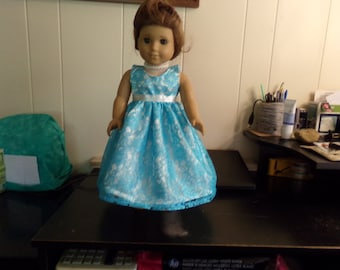 AMG blue over white satin party dress
