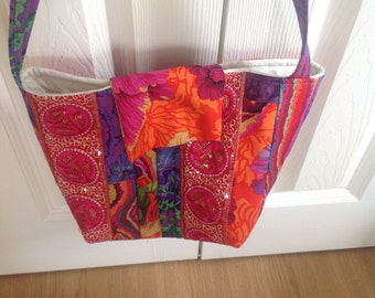 Patchworked and quilted Kaffe Fasett shoulder bag