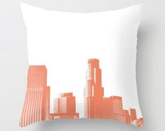 Los Angeles pillow, LA pillow cover, coral home decor, DTLA art, LA skyline, orange, California, home living, nursery pillow, girls decor