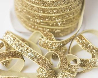 3/8 Gold glitter Elastic, glitter foe sparkle elastic by the yard, fold over elastic, foldover elastic glitter headband, wholesale elastic