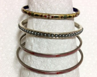 Set of four slip-on bracelets