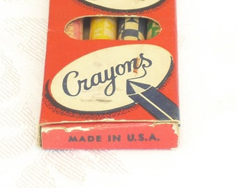 Vintage Crayons, 1950s Rare Box, Chick Chick Crayons, Collectors Crayons, School Supplies, Office Supplies, Free Gift, Made in USA