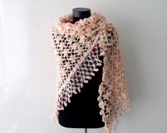 Hand Knitted Triangular  Shawl with Pink Flowers